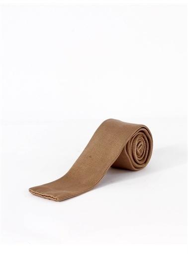Dufy Sıyah Çızgılı Örme Kravat Bej